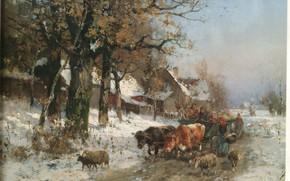 Picture people, village, wagon, bulls, sheep, BAISCH, village people