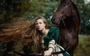 Picture girl, weapons, horse, horse, bow