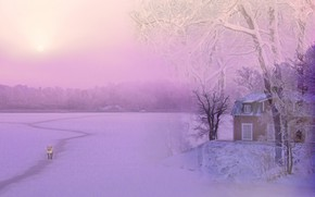 Picture winter, the sky, snow, trees, rendering, shore, graphics, the evening, Fox, the snow, house, path, …