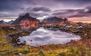Picture the sky, grass, the sun, clouds, sunset, mountains, stones, home, Norway, Bay, The Lofoten Islands, …