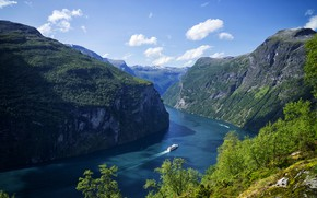 Picture the sky, water, clouds, trees, nature, river, Mountains, Norway, Mountains, Norway