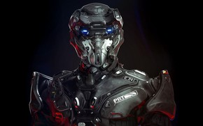 Picture technology, black background, protective suit, 3D model, sensors, 3d art, black background, technology, warrior of …