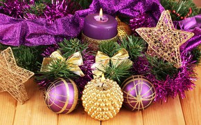 Picture winter, decoration, balls, candles, New year, tinsel, Christmas, New Year