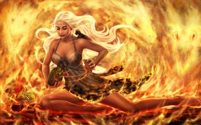 Picture girl, fire, dragons, dragon eggs