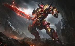 Picture Fantasy, Fire, Art, Devil, Flame, Sword, Armor, Game Art, by G-host Lee, G-host Lee, YOOZOO