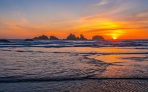 Picture sea, sunset, rocks, shore, surf