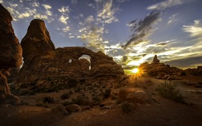 Picture sunset, Utah, USA, Arches National Park