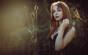 Picture look, girl, nature, background, portrait, brown hair, interesting appearance