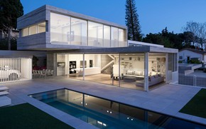 Picture Villa, the evening, pool, lighting, architecture, terrace, outside-inside house, by Axelrod Architects & Pitsou Kedem …