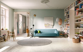 Picture interior, library, sofa, living room