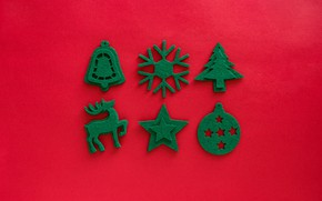 Picture winter, holiday, star, ball, deer, green, Christmas, New year, herringbone, bell, items, red background, figures, …