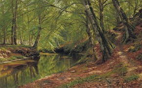 Picture 1905, Danish painter, Peter Merk Of Menstad, Peder Mørk Mønsted, Danish realist painter, oil on …