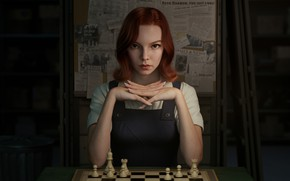Picture chess, redhead, looking at viewer, 2021, Beth Harmon