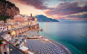 Picture road, sea, beach, coast, building, home, Italy, Italy, Campania, Amalfi Coast, Atrani, The Tyrrhenian sea, …