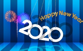 Picture new year, fireworks, 2020, my works