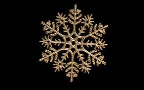 Picture new year, black background, snowflake, closeup