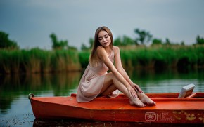 Picture nature, pose, the reeds, model, boat, makeup, dress, hairstyle, brown hair, legs, river, beauty, sitting, …