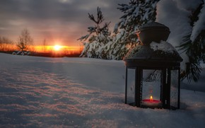 Picture winter, the sun, rays, snow, trees, landscape, nature, dawn, candle, morning, ate, lantern, Andrei