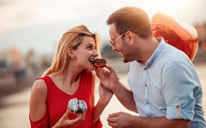 Picture girl, happiness, mood, donuts, guy, smile