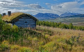Picture mountains, old, house
