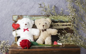 Picture love, flowers, gift, toy, heart, roses, bear, red, love, bear, heart, wood, flowers, romantic, teddy, …