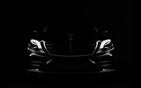 Picture Auto, Black, Machine, Mercedes, Lights, Logo, Car, Art, Render, Design, The front, Transport & Vehicles, …