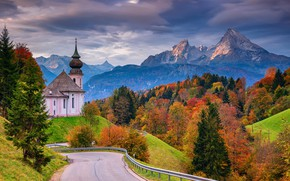 Picture road, autumn, forest, trees, mountains, Germany, Bayern, Church, Germany, Bavaria, Bavarian Alps, The Bavarian Alps, ...