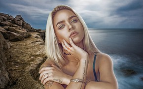 Picture sea, the sky, look, girl, landscape, reverie, face, pose, eyelashes, style, labels, stones, mood, rocks, …