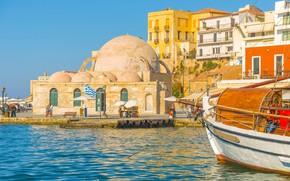 Picture sea, the sky, the sun, shore, home, yacht, Greece, pier, Crete, Chania
