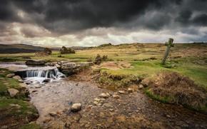 Wallpaper clouds, England, cross, river, Moortown