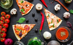 Picture table, food, pizza, Italian, Pizza, wooden table, Tasty