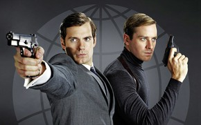 Picture gun, men, Henry Cavill, Armie Hammer, Agents A. N. To.L.