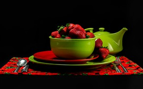Picture red, green, berries, kettle, strawberry, spoon, knife, plates, bowl, plug, black background, napkin, bowl, submission, …