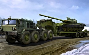 Picture Tank, The trailer, Tractor, MAZ-537