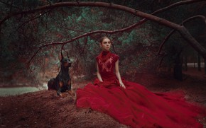 Picture forest, girl, branches, style, dog, dress, pine, red dress, Doberman, Anastasia Dobrovolskaya