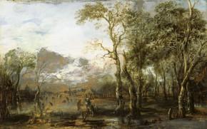 Picture oil, picture, Art van der NEER, Aert van der Neer, 1640, Landscape with a Hunter