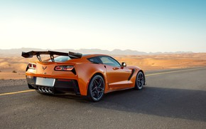 Picture orange, Corvette, Chevrolet, ZR1, rear view, 2019