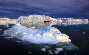Picture sea, snow, ship, ice