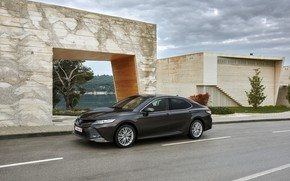 Picture road, Toyota, sedan, the sidewalk, Hybrid, Camry, 2019