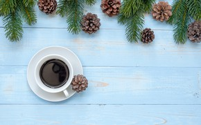 Picture decoration, New Year, Christmas, Christmas, wood, New Year, coffee cup, decoration, a Cup of coffee, …