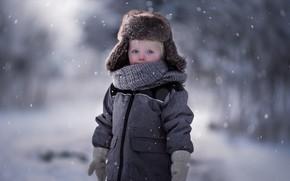 Picture winter, look, hat, baby, coat, mittens