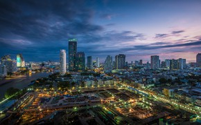 Picture the sky, the city, morning, Thailand, Bangkok, twilight