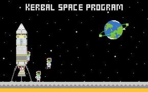 Picture minimal, Space, 8bit, Kerbal space program, KSP, adaptation to widescreen