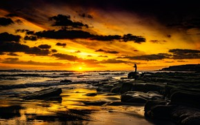 Picture SEA, The SKY, CLOUDS, WAVE, SUNSET, SHORE, FISHERMAN, ROD, ROCKS