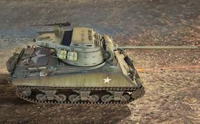 Picture art, tank, ww2, Sherman