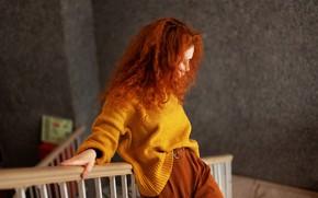 Picture redhead, curls, sweater, Juliana Naidenova