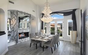 Picture design, kitchen, chandelier, fireplace, luxury
