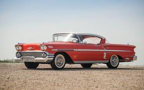 Picture Chevrolet, Lights, Gravel, Classic, Bel Air, Impala, Chrome, Classic car, 1958, Chevrolet Bel Air Impala