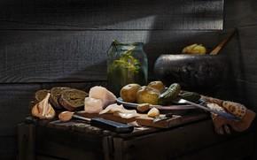 Picture cucumbers, garlic, potatoes, fat