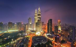 Picture landscape, the city, lights, building, lighting, panorama, Malaysia, Kuala Lumpur